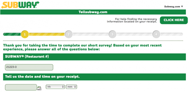 Filling of the Personal Details at the Tellsubway Website