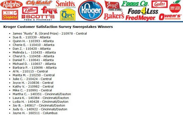 Kroger Survey Winner
