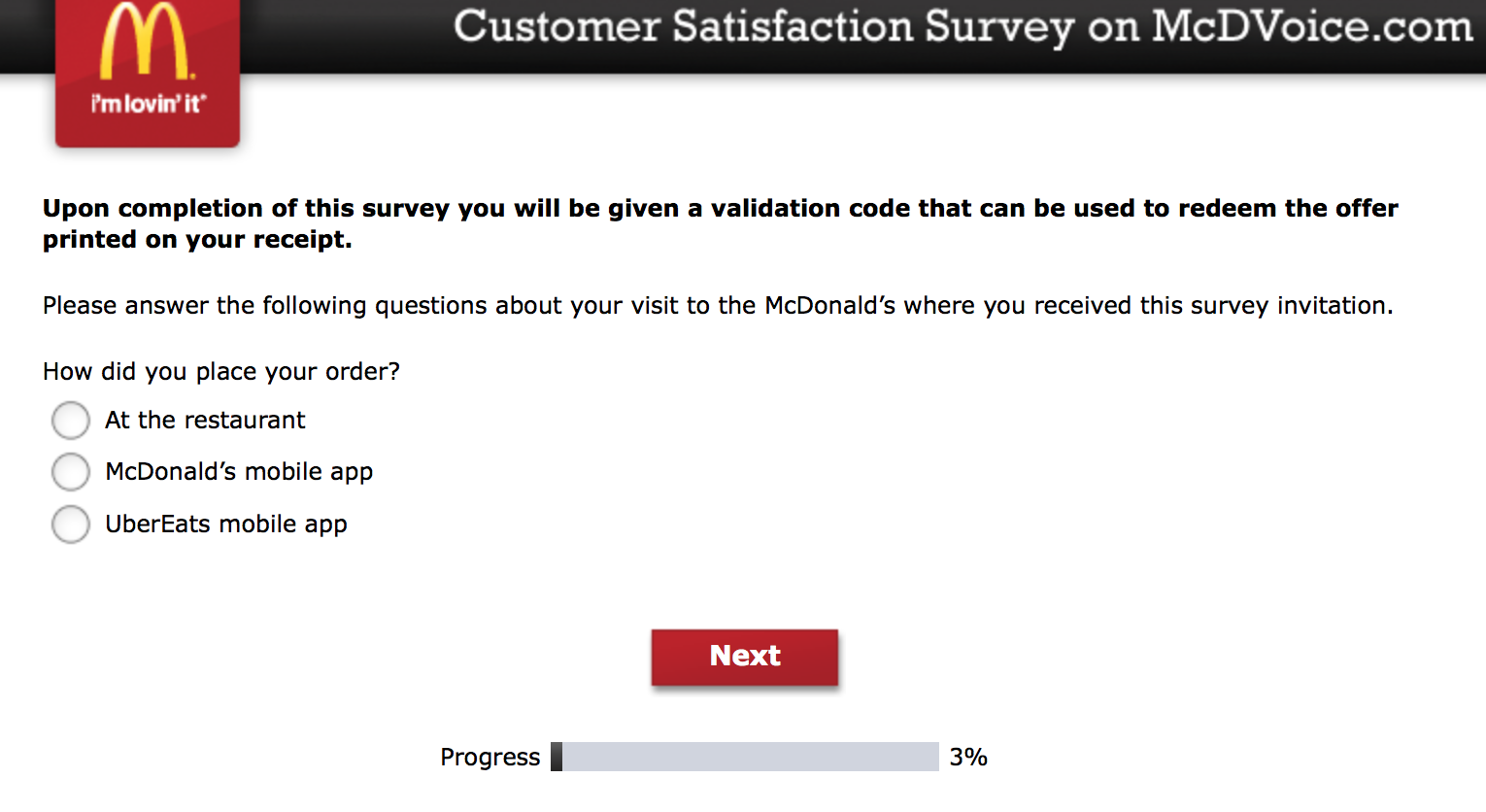 Mcdvoice.com Customer Survey 1