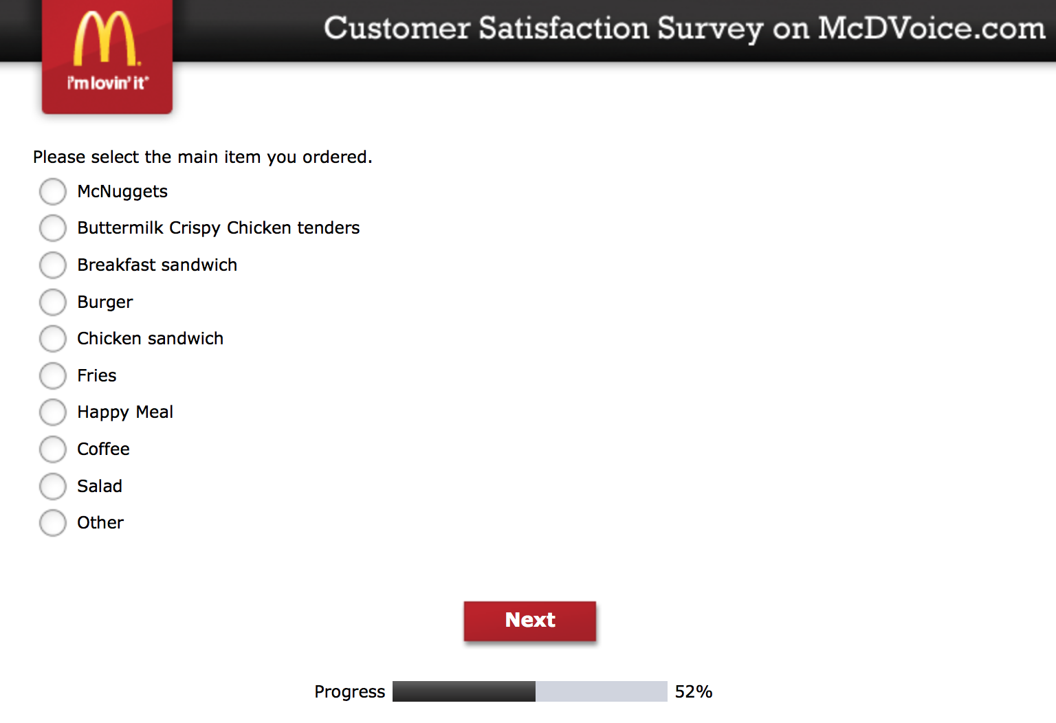 Mcdvoice.com Customer Survey 12