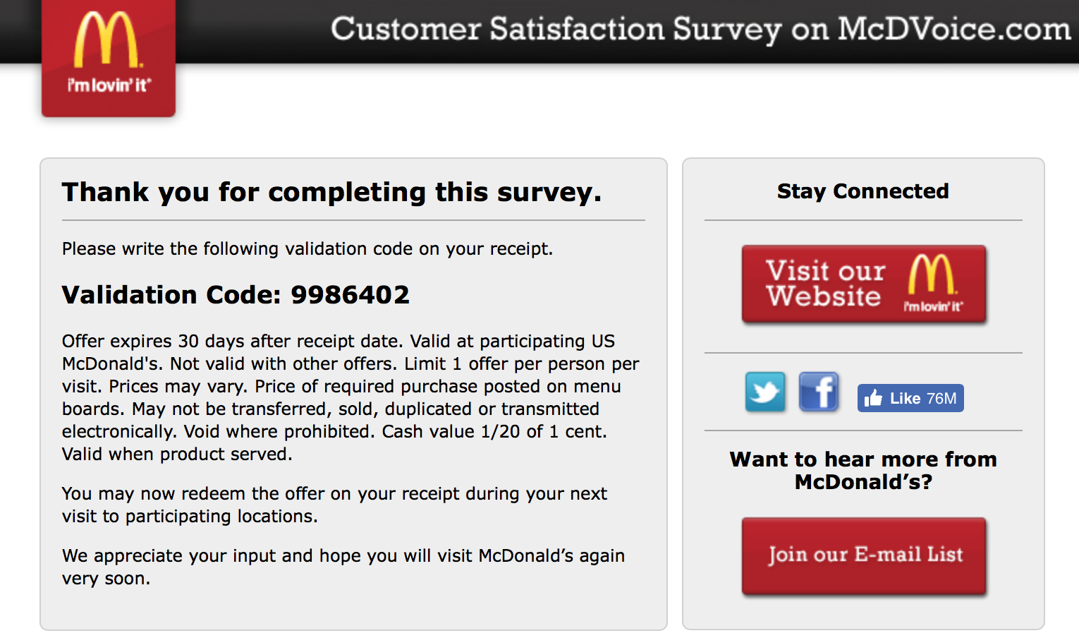 Mcdvoice.com Customer Survey 27