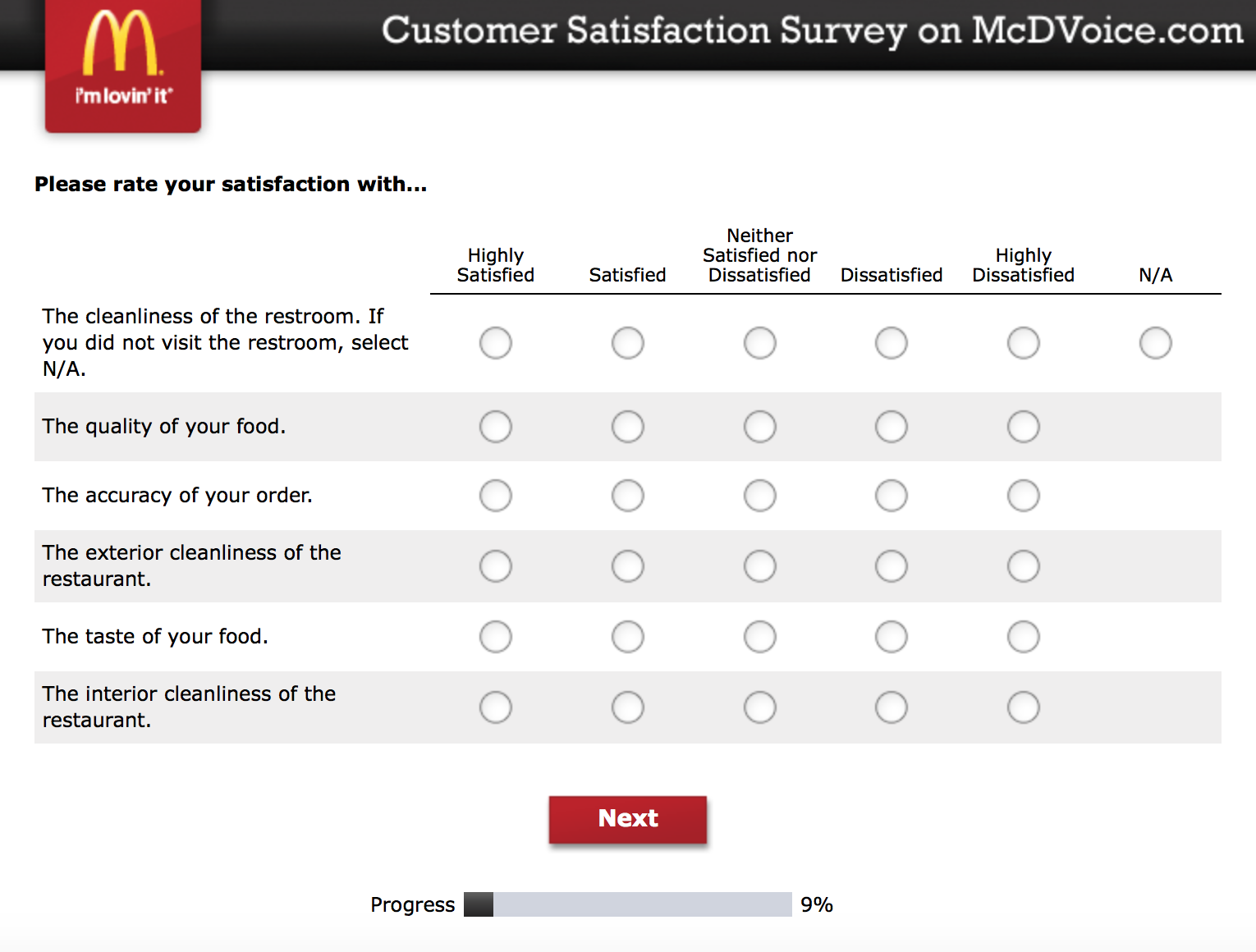 Mcdvoice.com Customer Survey 4