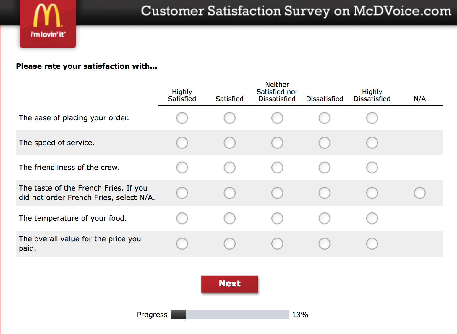 Mcdvoice.com Customer Survey 5