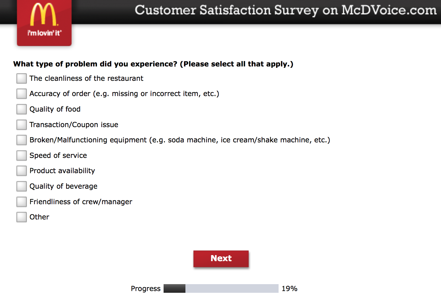 Mcdvoice.com Customer Survey 8