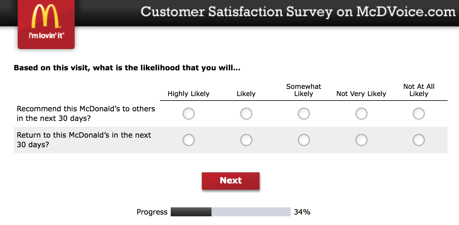 Mcdvoice.com Customer Survey 9