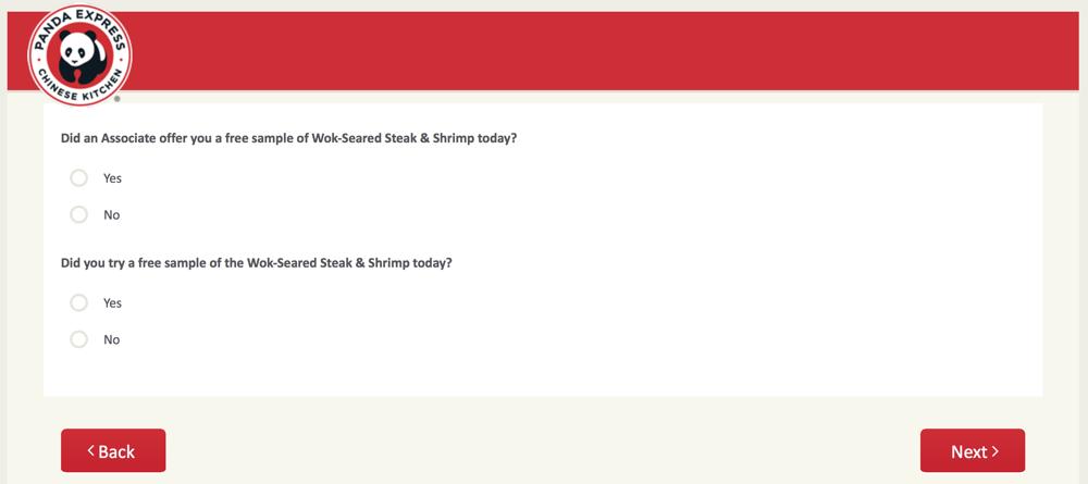 PandaExpress.com:feedback Survey 14