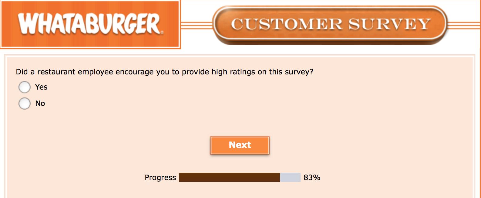 Whataburger Survey 28