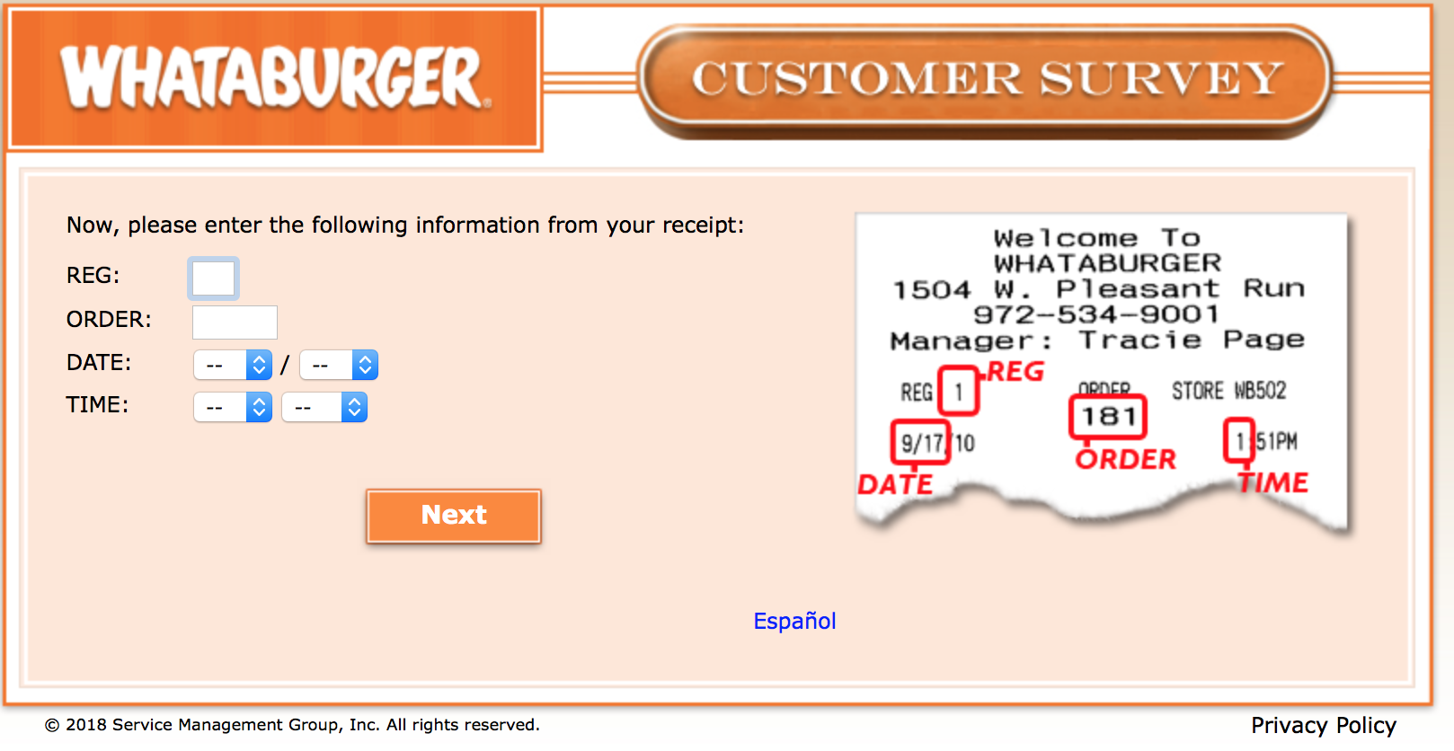 Whataburger Survey 3