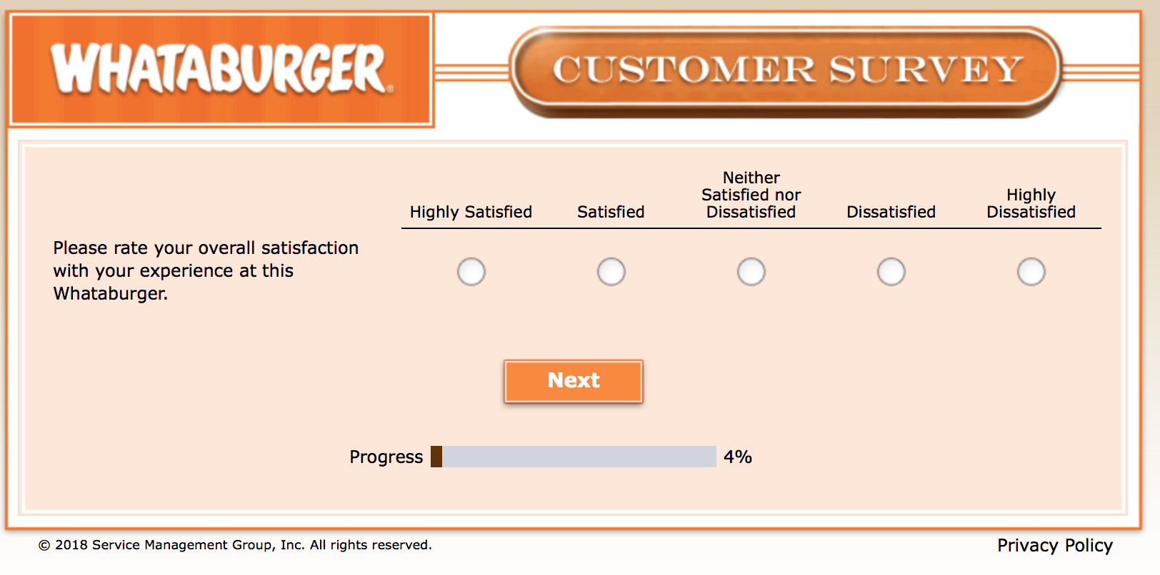 Whataburger Survey 5
