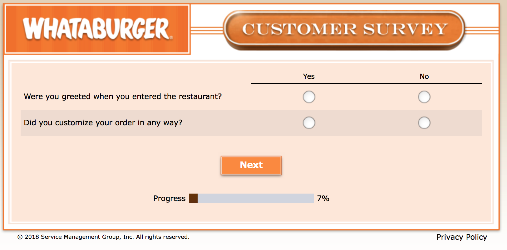 Whataburger Survey 6
