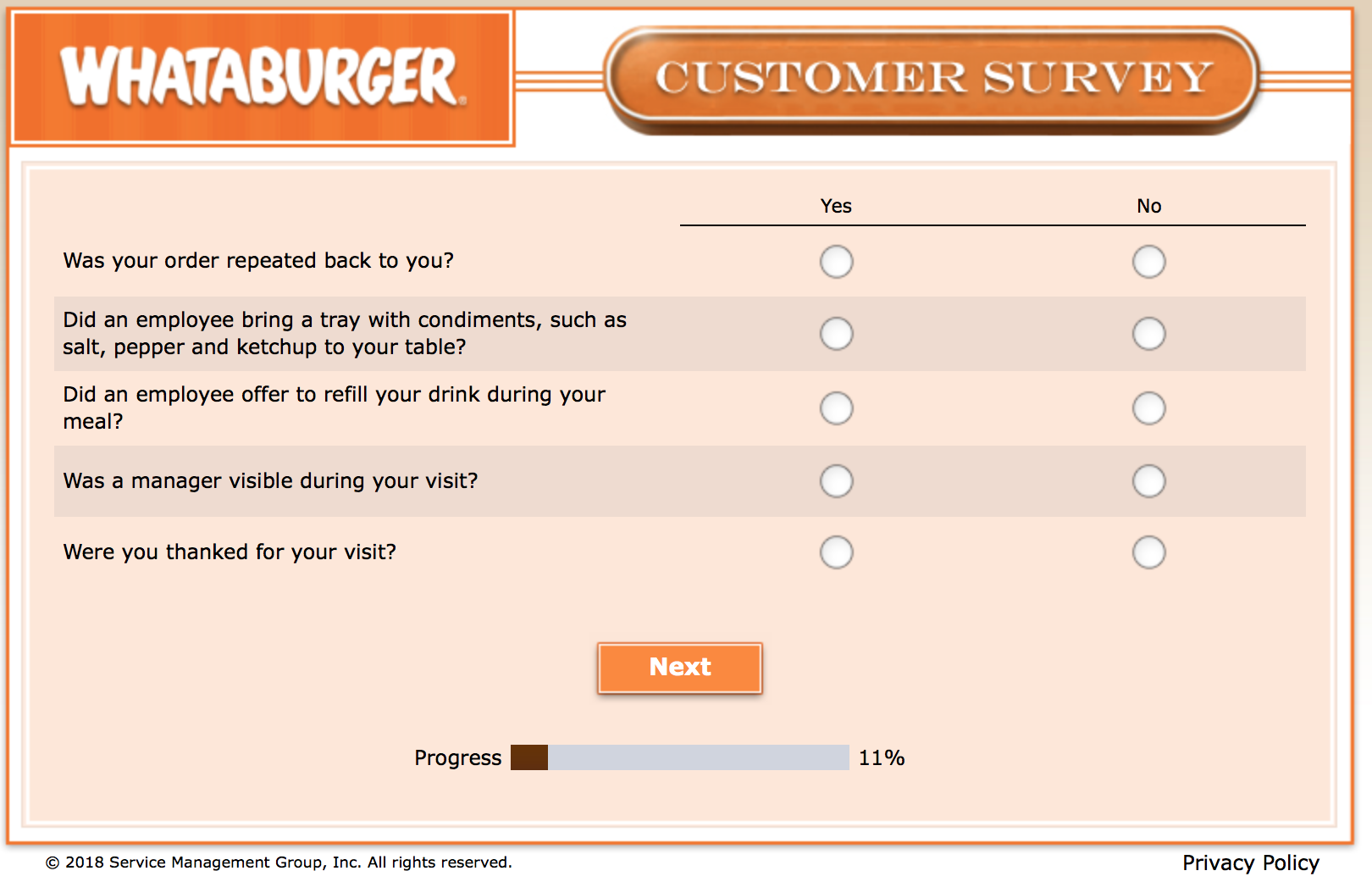 Whataburger Survey 7