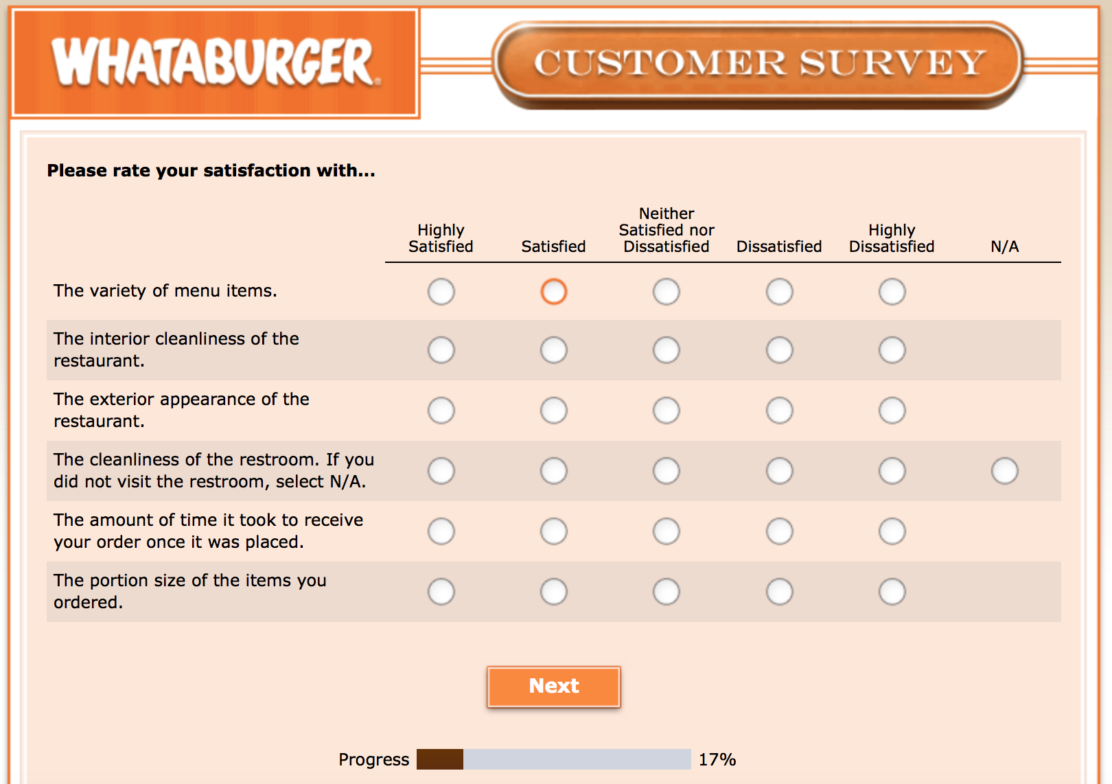 Whataburger Survey 8
