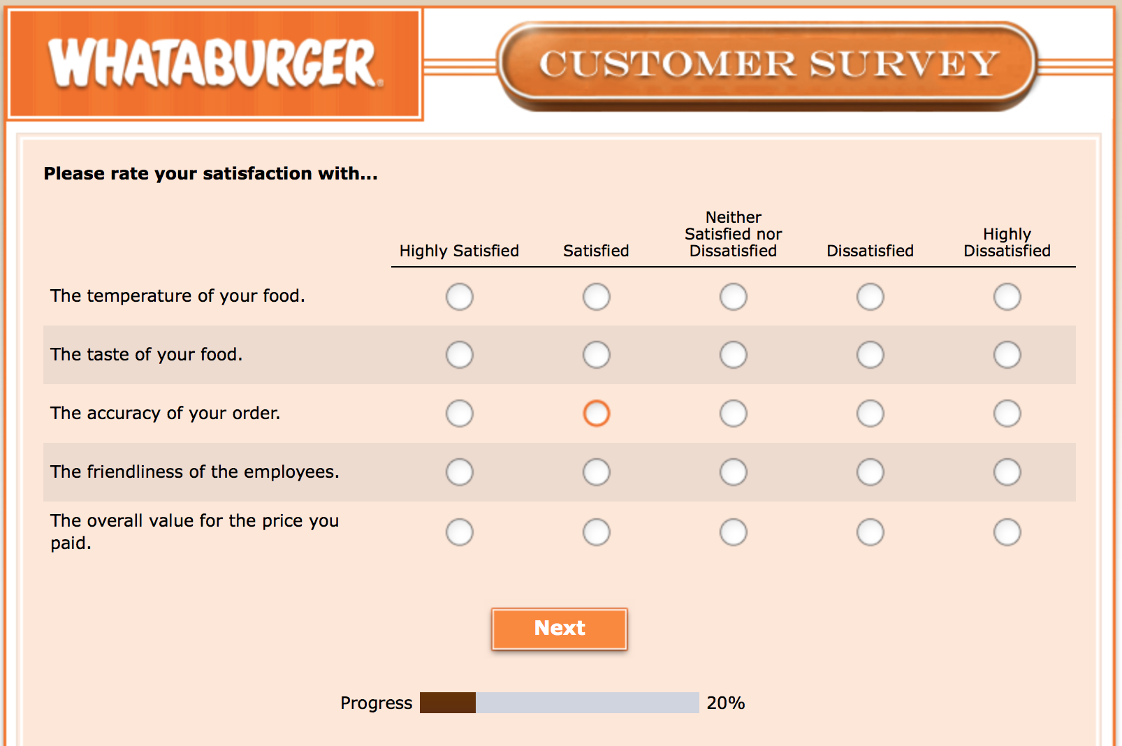 Whataburger Survey 9