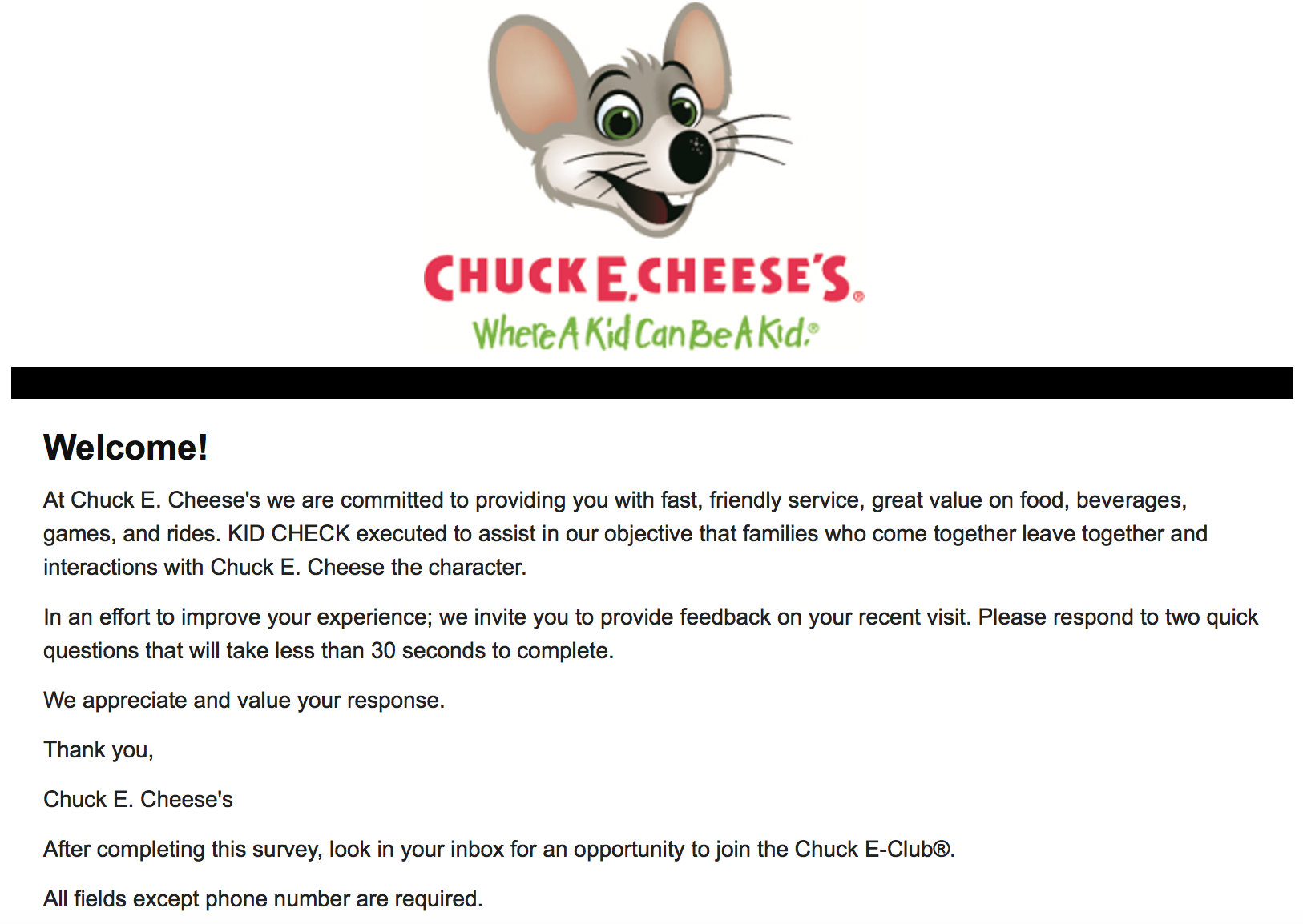 Chucke Cheese Feedback