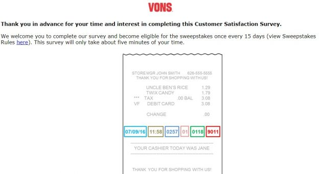 Vons Customer Feedback