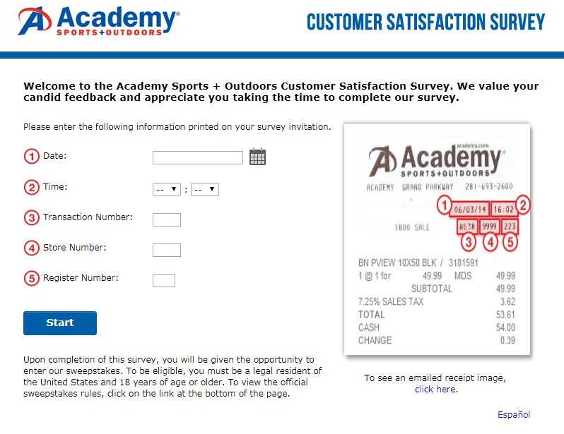 Academy Sports + Outdoors Customer Satisfaction Survey