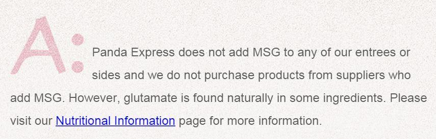 Does Panda Express Use MSG