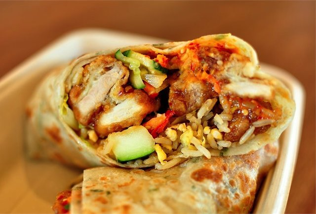 Panda Express Burrito with Orange Chicken